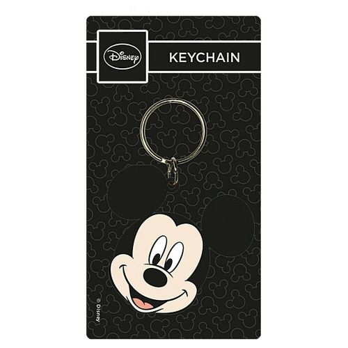Disney Mickey Mouse Head Keyring Rubber Keychain Fob